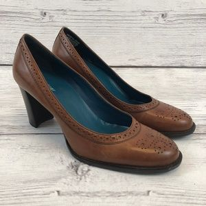 Naturalizer Womens 9.5 Oxford Pumps Brown Leather
